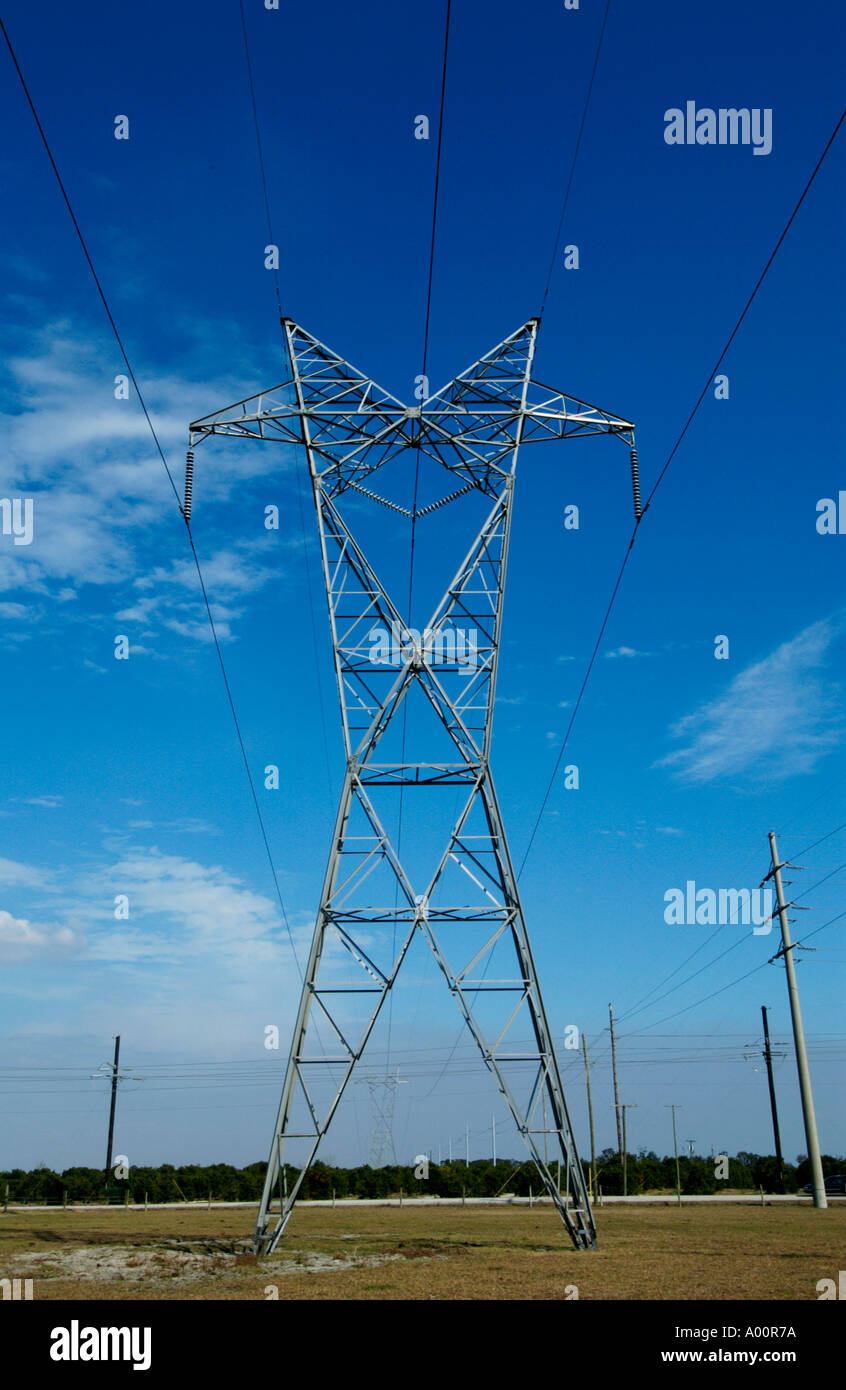 High Voltage Transmission Lines : High voltage transmission power lines in florida usa stock