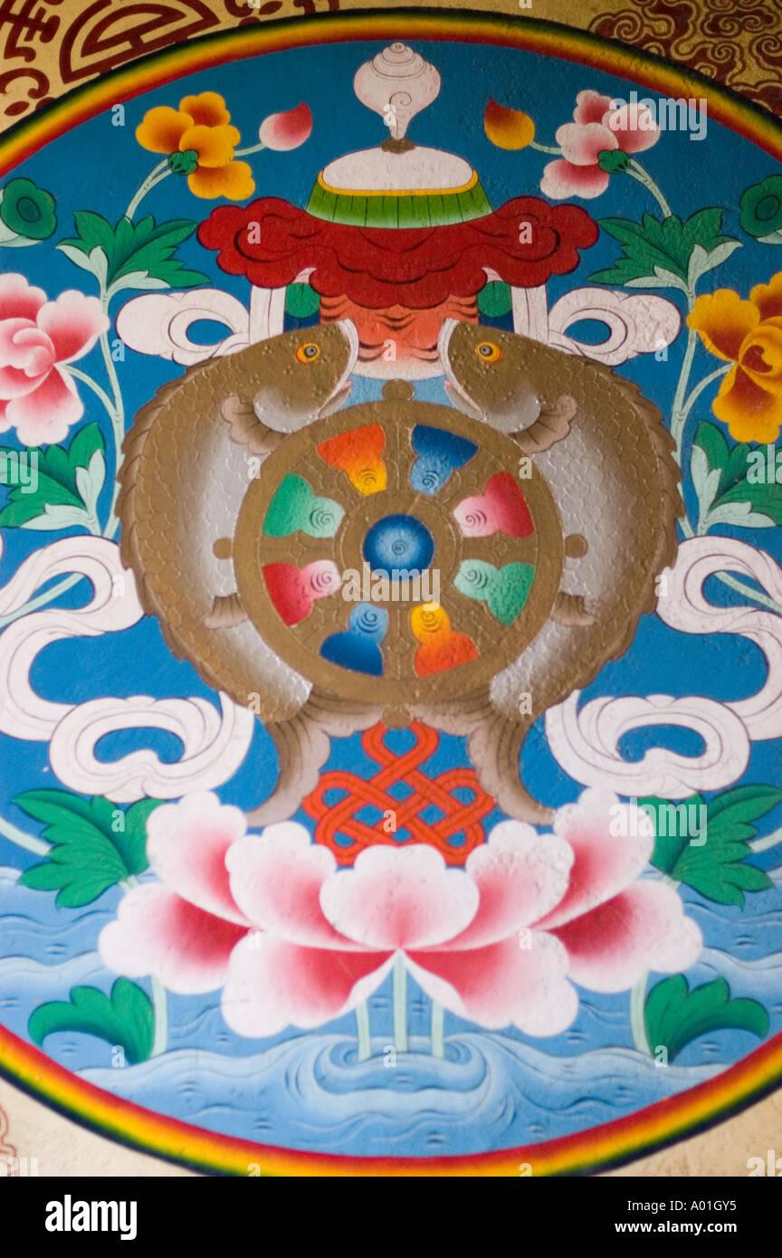 Eight buddhist symbols stock photos eight buddhist symbols stock eight buddhist auspicious symbols together mural painting in institute of tibetan studies gangtok sikkim india biocorpaavc Gallery