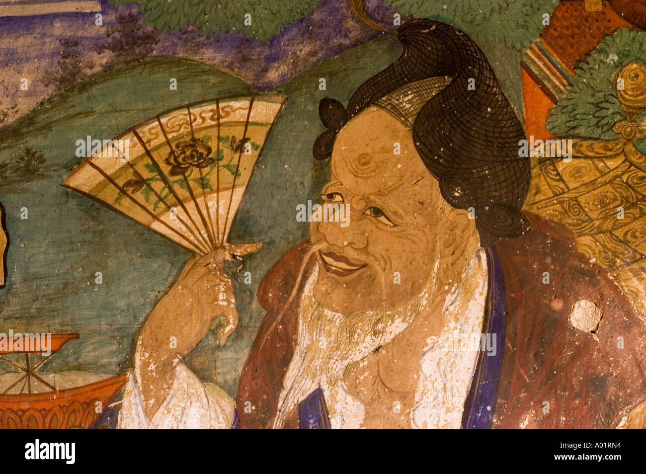 A chinese man with beard and fan mural painting in sankar for Chinese mural painting