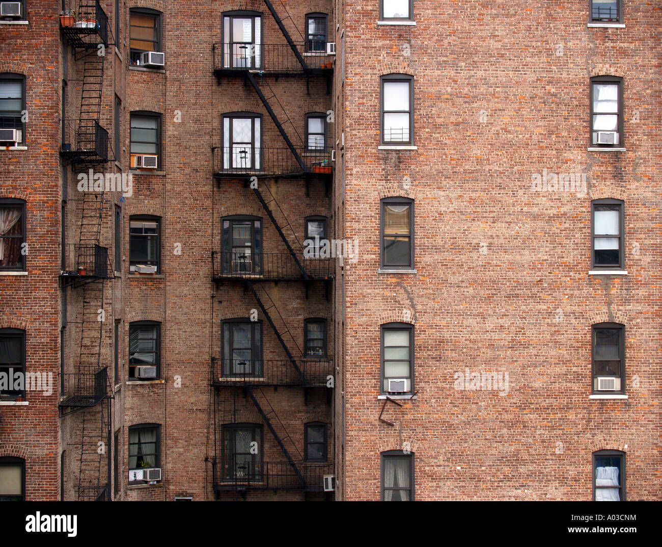 Brick Walls And Windows On Apartment Buildings In Manhattan In New York City