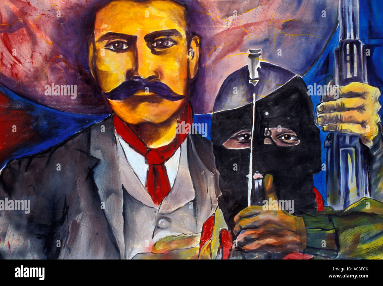 Stock image of a mexican mural with emiliano zapata and for Emiliano zapata mural