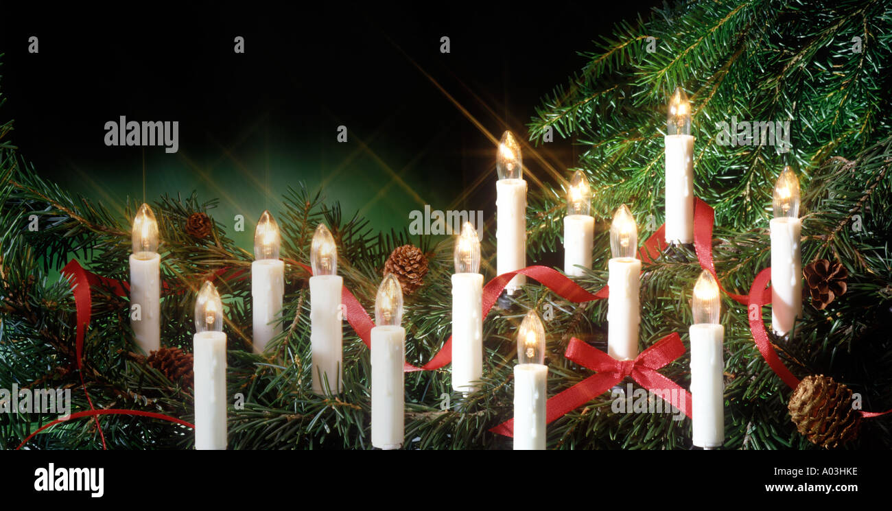 electric candles in Christmas tree Stock Photo, Royalty Free Image ...