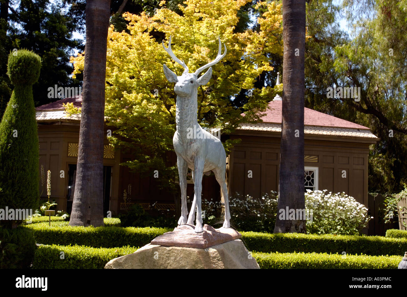 statue of deer in yard of winchester mystery house san jose stock