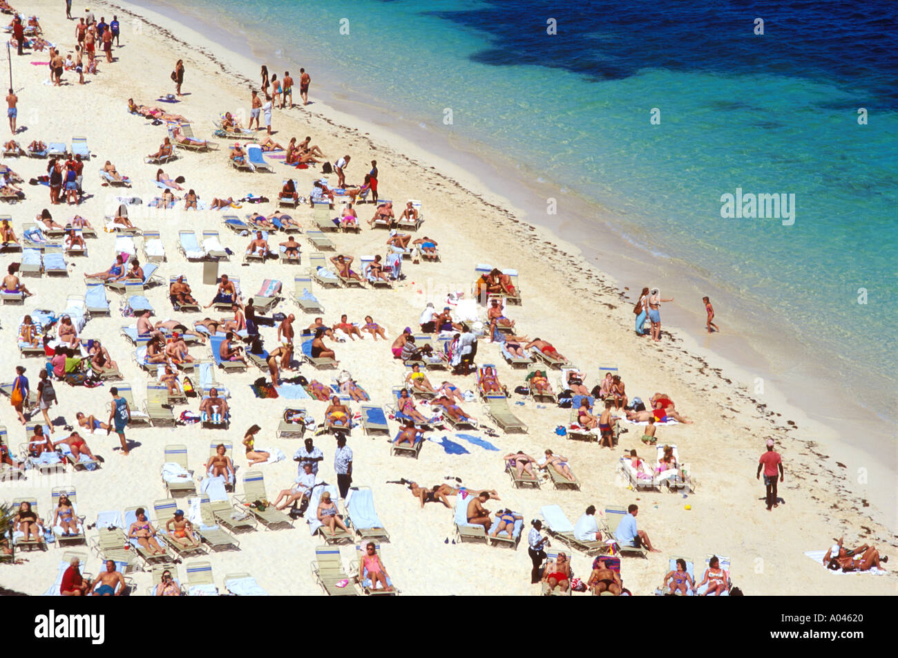 Bahamas Nassau Cable Beach People Relaxing And Sun Tanning On The