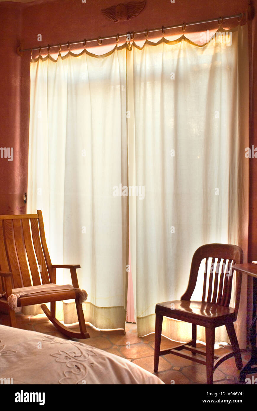 Backlit White Curtains In Mexican Style Bedroom Wooden Rocking Chair Tile  Floor San Miguel De Allende Mexico