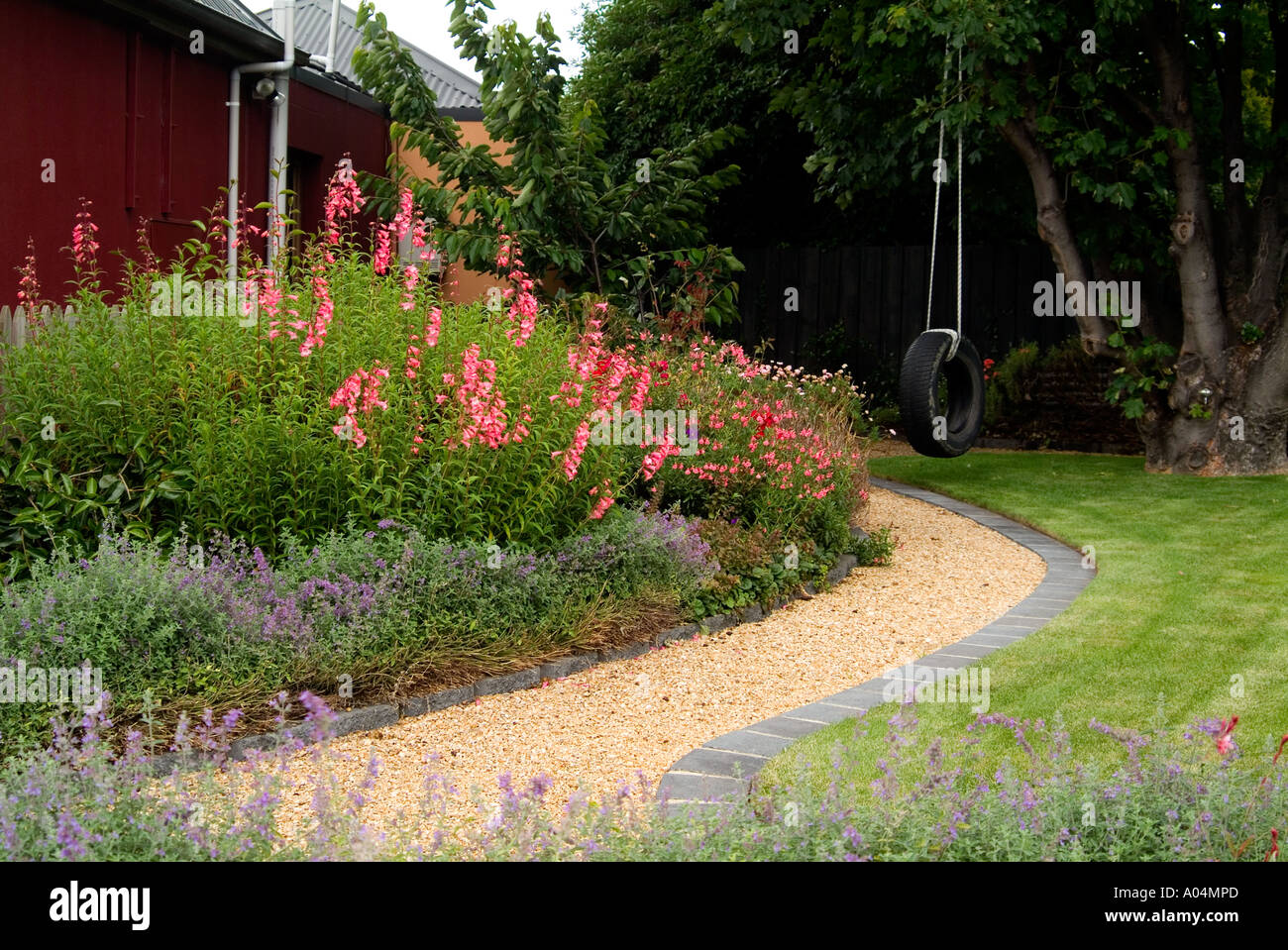 Neat Garden Path With Brick Edging