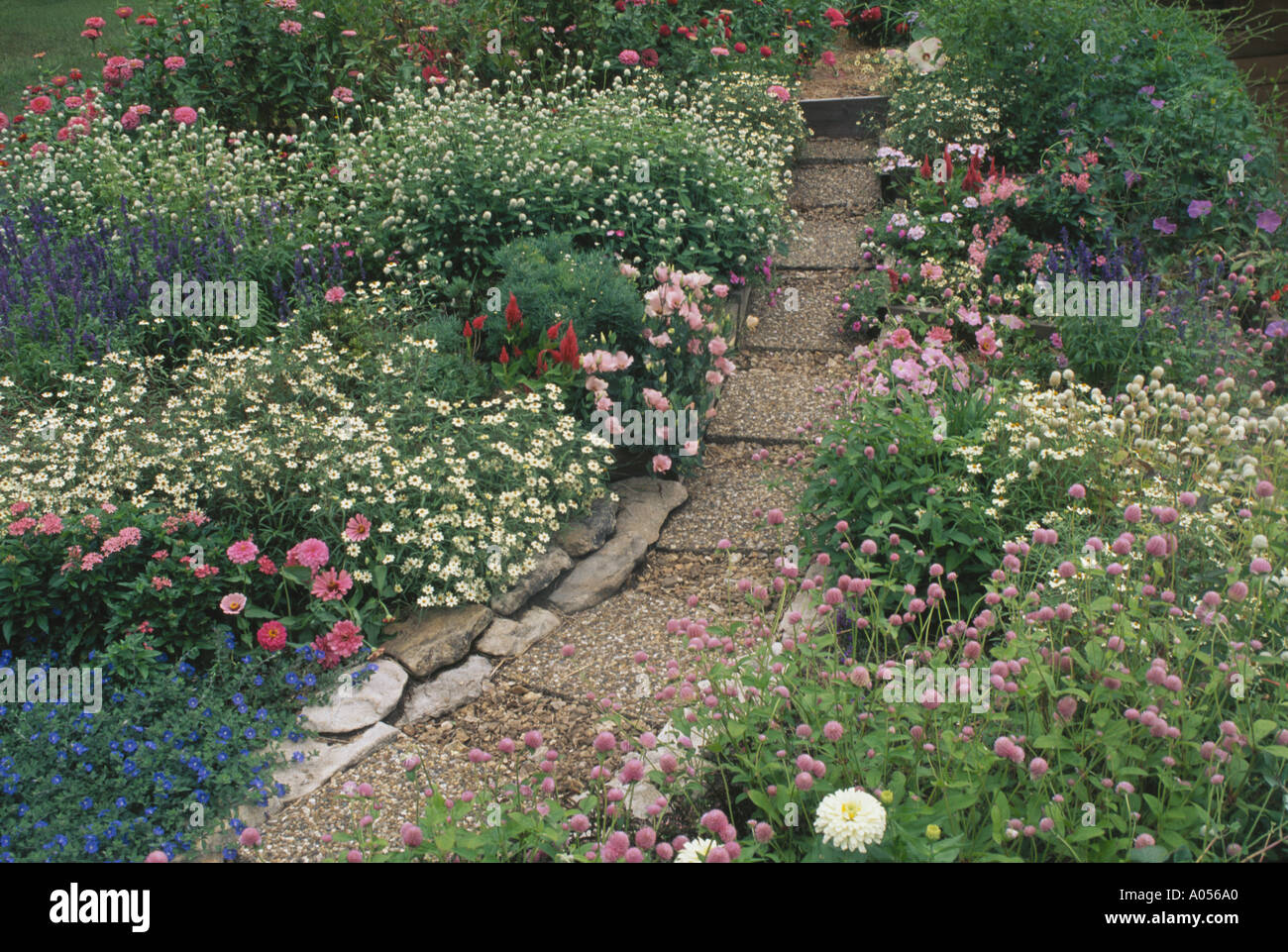 garden paths easy. cottage garden path in pink and pastel flowers with aggregate stone precast concrete pavers for easy paths