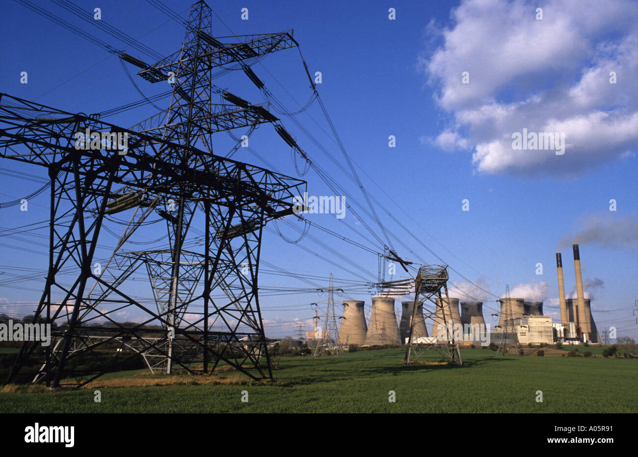 Electricity Pylons Running Into Ferrybridge Coal Powered