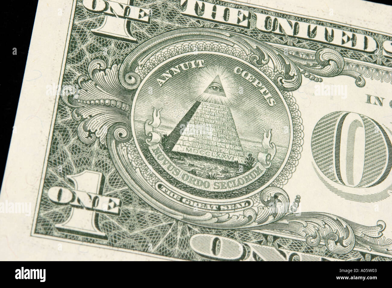 Masonic symbol of eye and pyramid stock photos masonic symbol of money usa american currency masonic image on back of one dollar bill stock image biocorpaavc Images