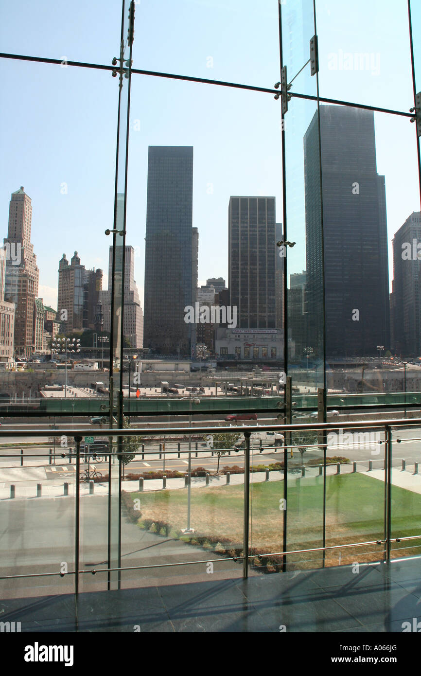 view from the winter garden of ground zero new york stock photo