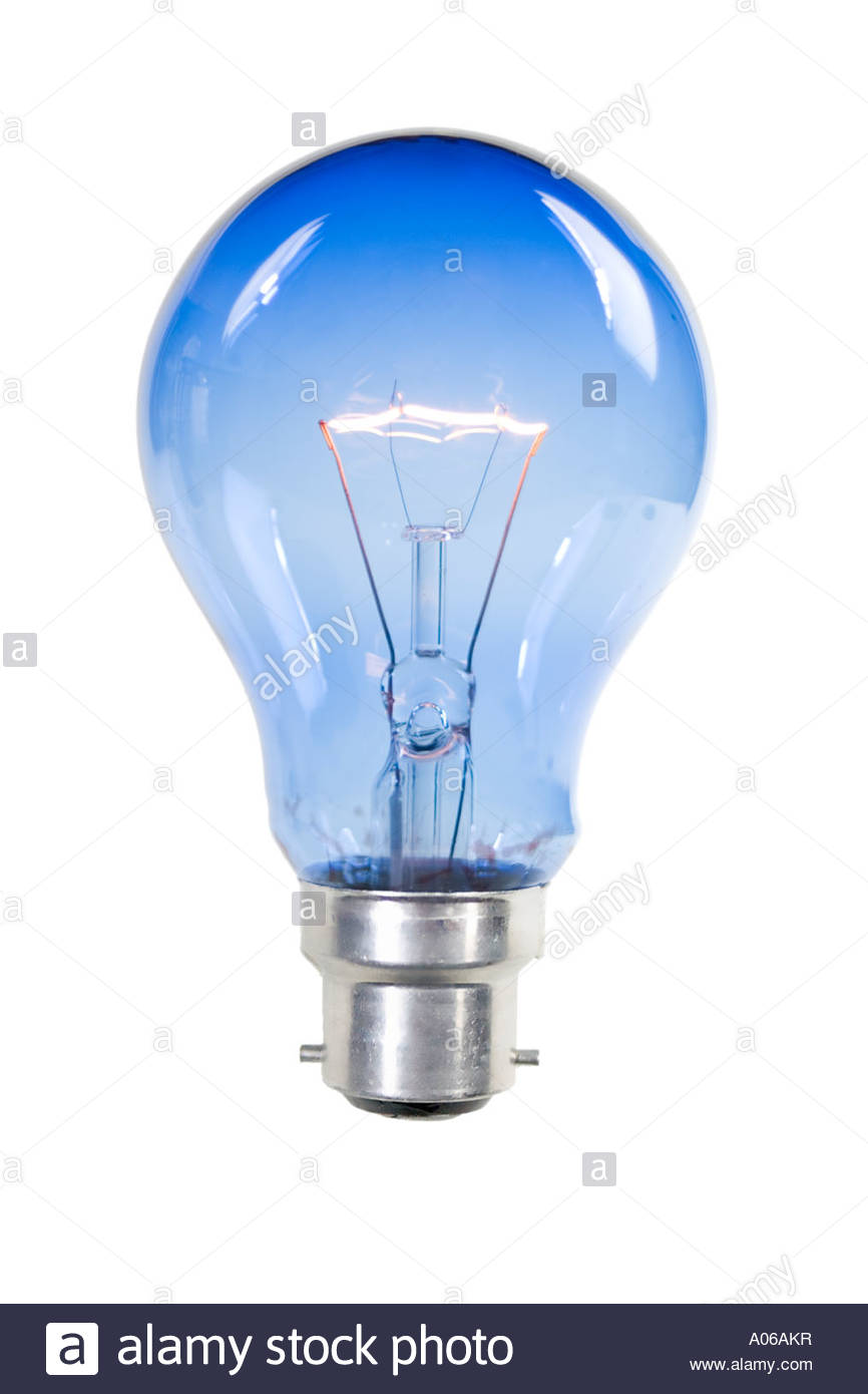 A lit blue light bulb on white background No wires or ...