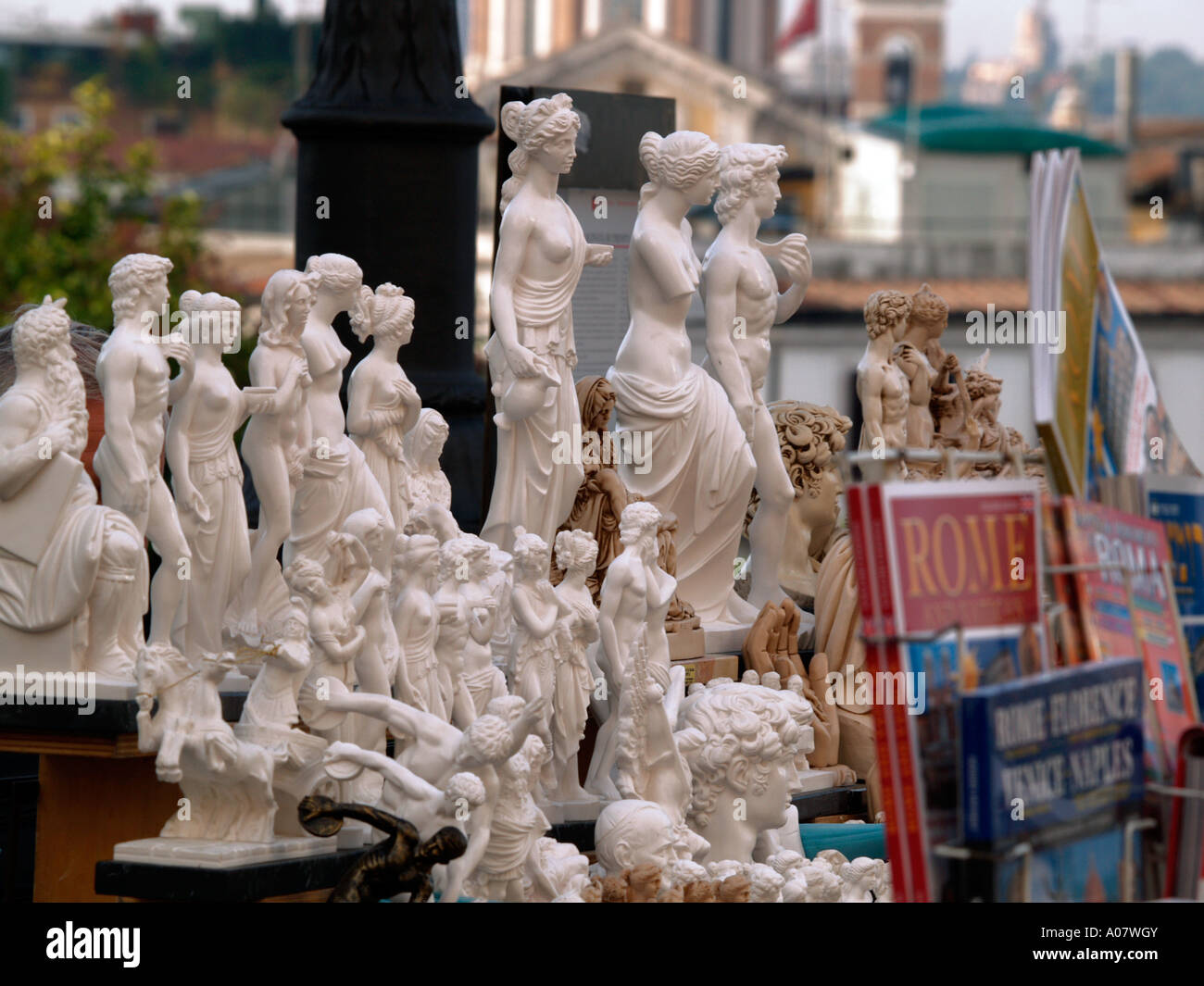 Greek Roman Statues On Sale From Stall In Rome Stock Photo