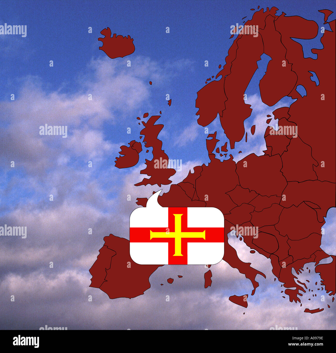 Europe map and flag of Guernsey United Kingdom Great Britain Stock