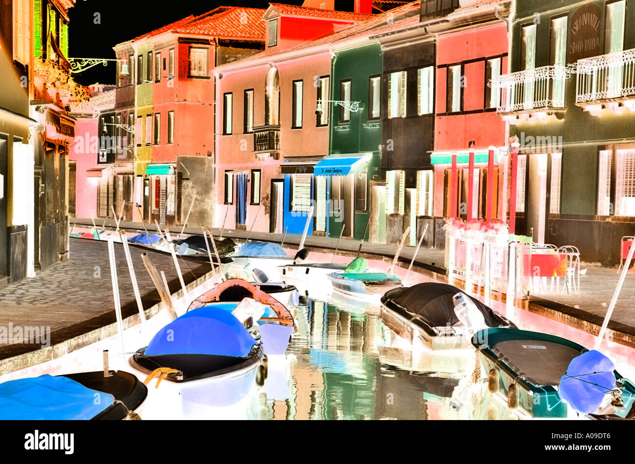 Colorful burano italy burano tourism - Stock Photo Colorful Houses And Boats Line The Canals Of Burano Near Venice In Italy Inverted Daytime Image