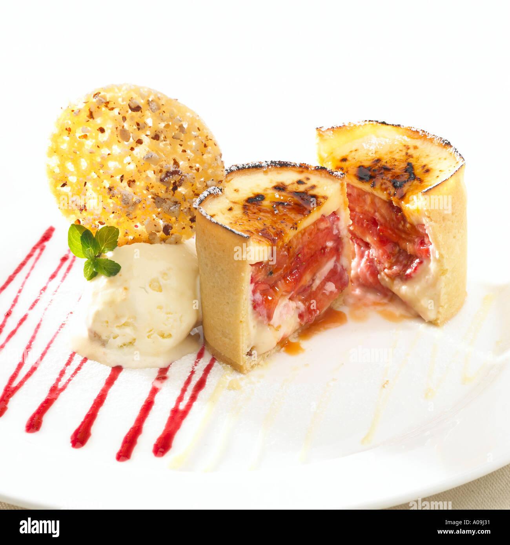 Strawberry and Lemon Tart with vanilla ice cream praline wafer tart ...