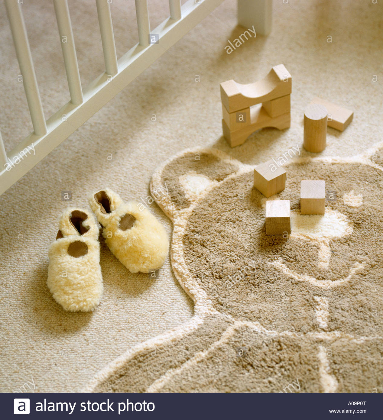 High Quality Stock Photo   Teddy Bear Rug With Building Blocks And Slippers On Nursery  Floor