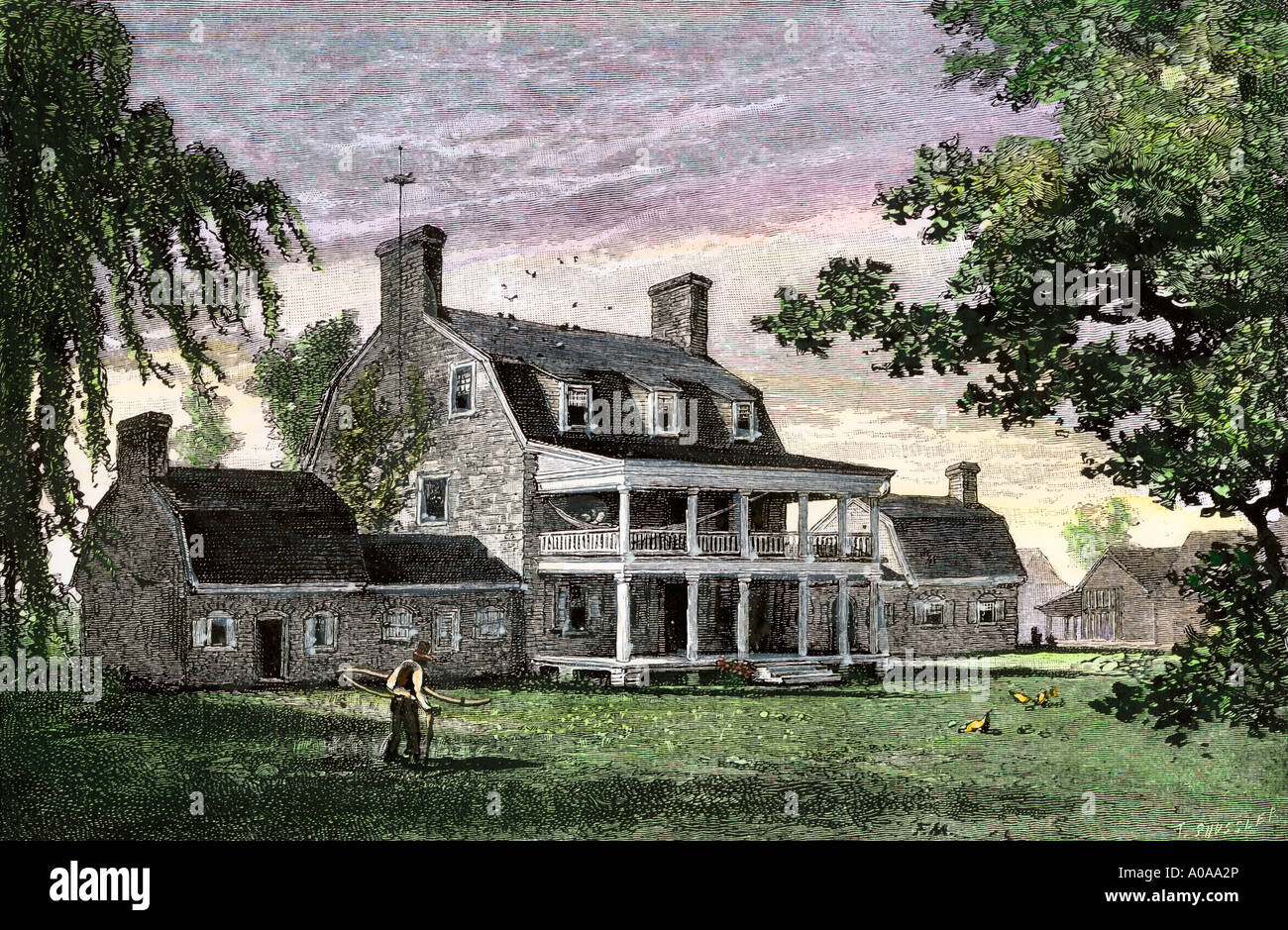 Maryland plantation manor house with outbuildings 1800s for 1800s plantation homes
