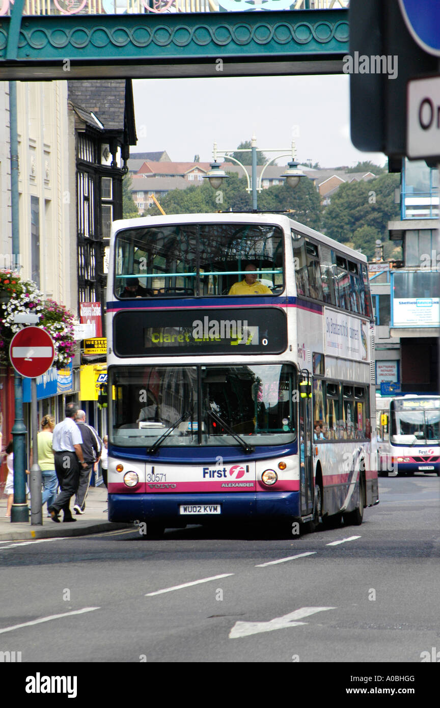 double decker volvo bus in first group livery in sheffield double decker volvo bus in first group livery in sheffield yorkshire uk