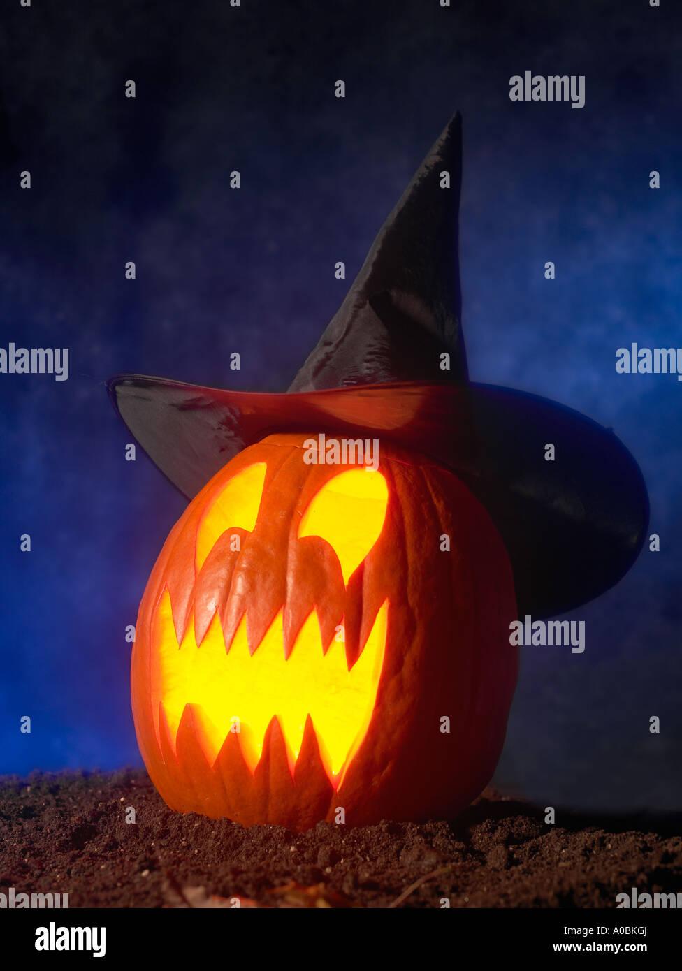 halloween jack o lantern pumpkin face witches hat stock photo
