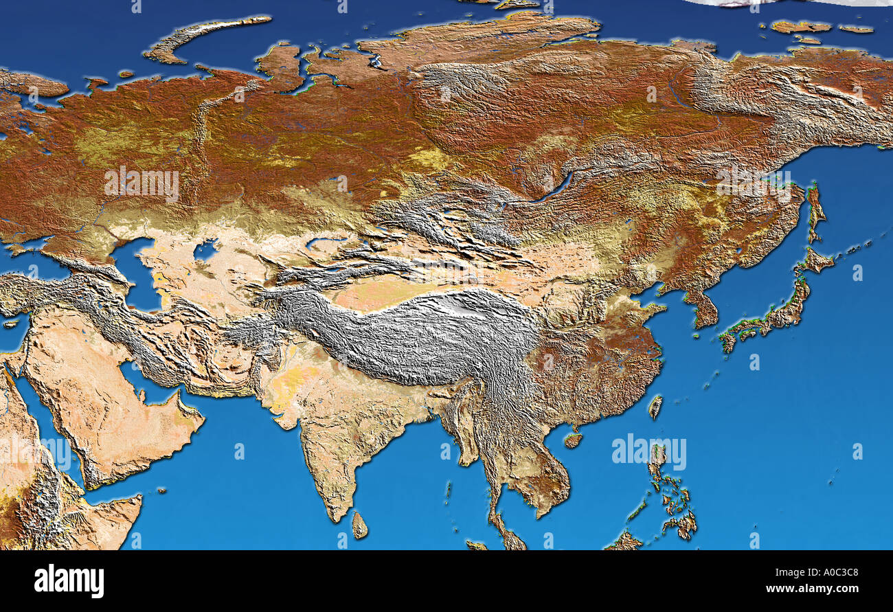 Satellite image of Asia Russia and India with shaded topographic