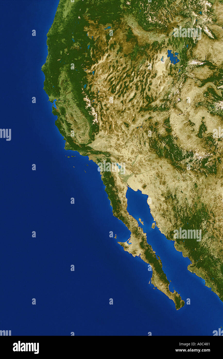 satellite image of the west coast united states from e