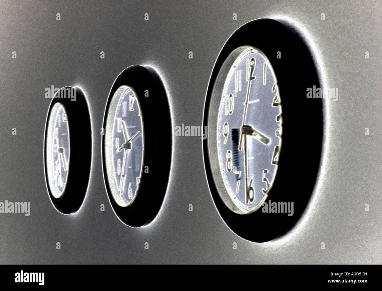 office wall clocks. Three Office Wall Clocks Set At Different Times L