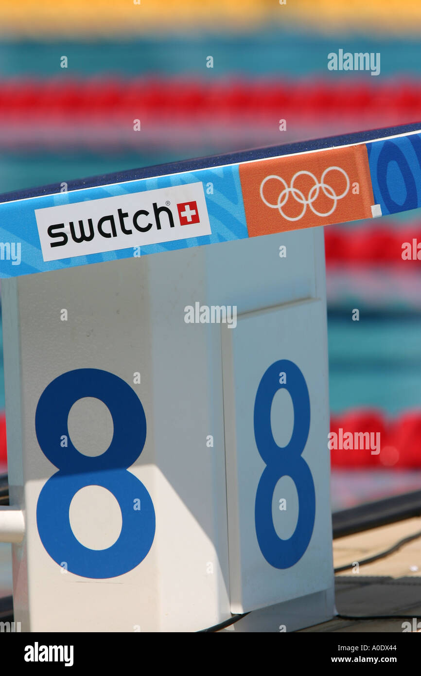 starting block at the olympic swimming pool at the athens olympics - Olympic Swimming Starting Blocks