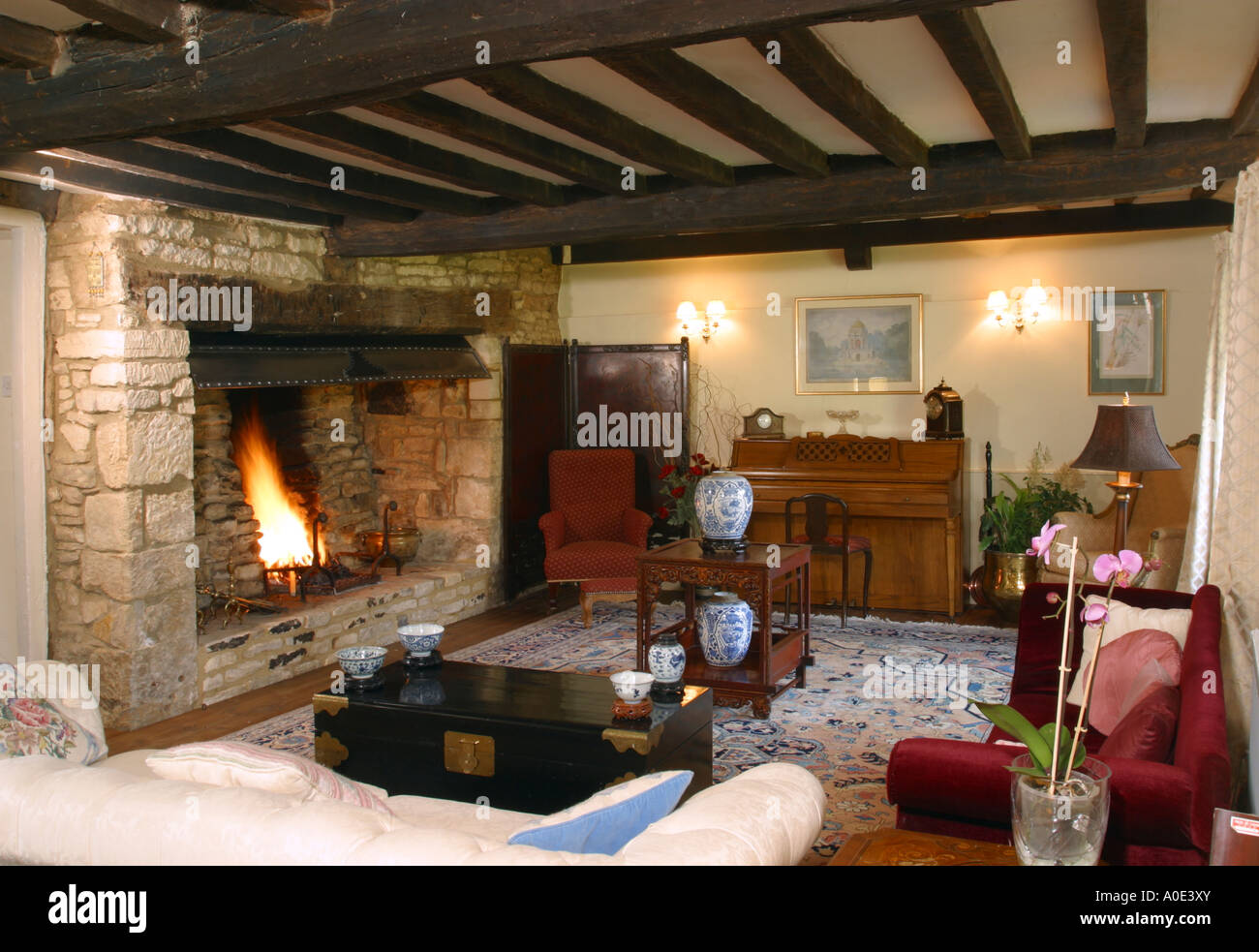 Sitting Room Dark Oak Beamed With Large Fireplace