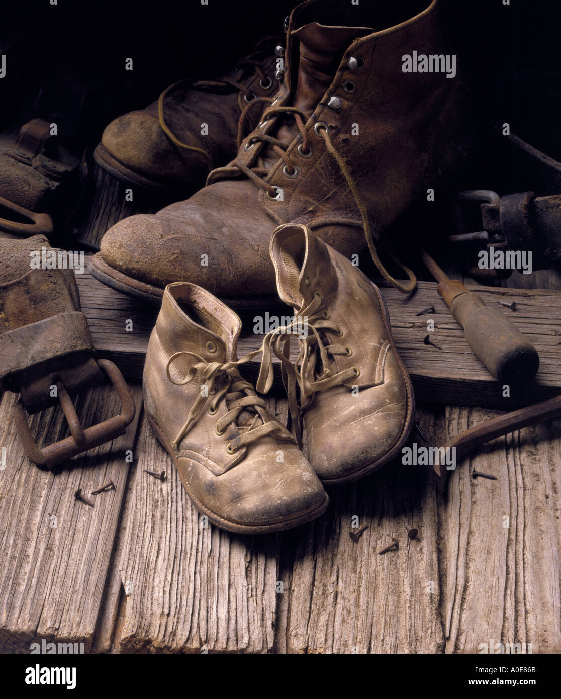 Old Shoes Old Antique And Baby Shoes In Garage Or Attic
