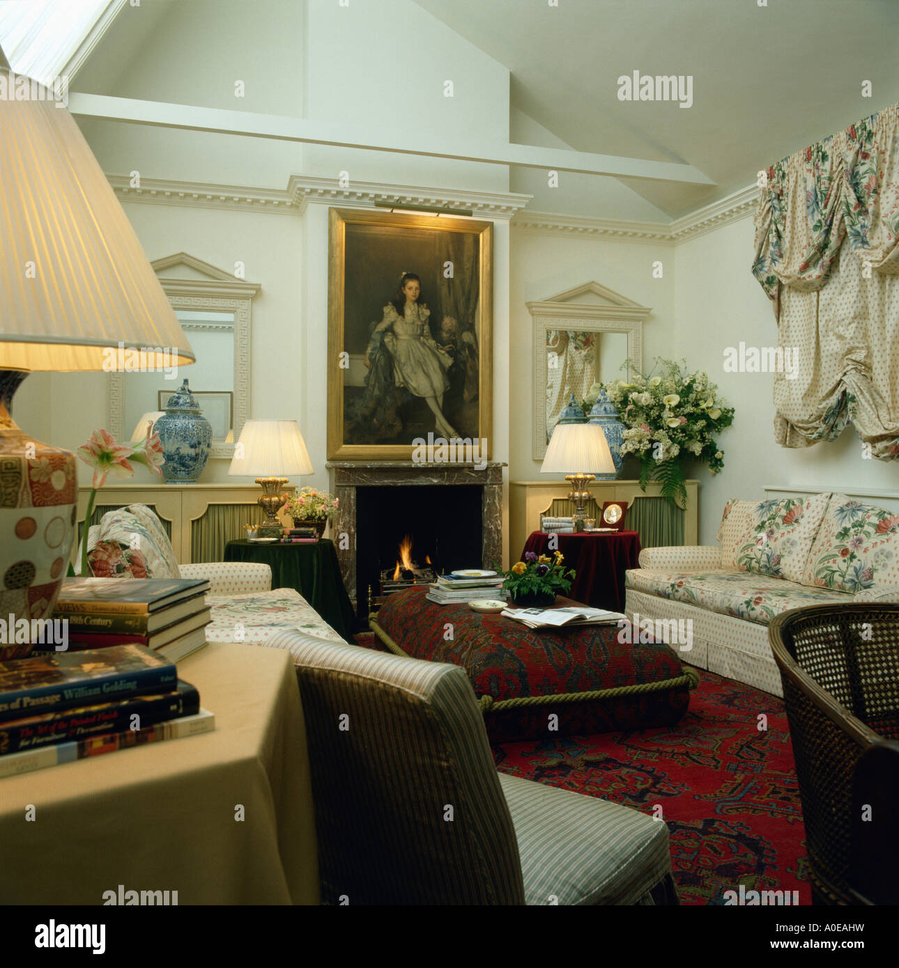 Stock Photo   Traditional London Townhouse Livingroom With Lighted Lamps  And Picture Above Fireplace Part 75
