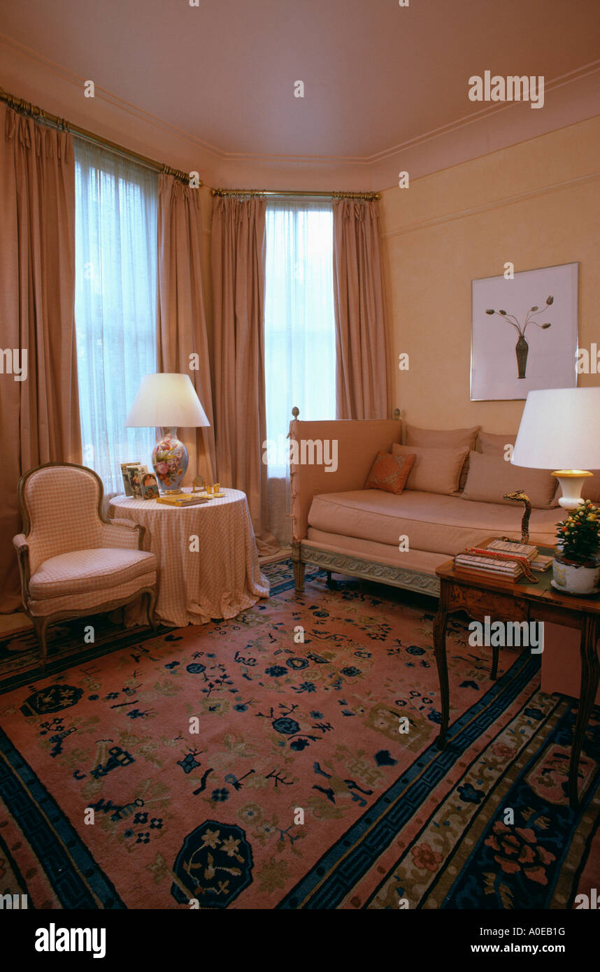 Toning Peach Coloured Sofa Curtains And Walls In Livingroom With Stock Photo Royalty Free
