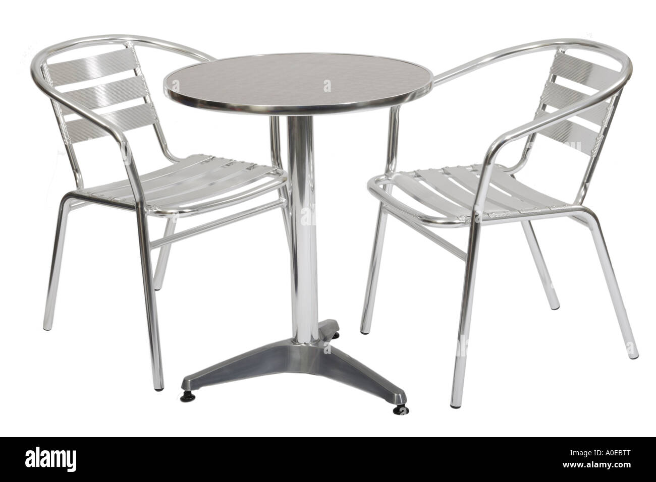 outdoor metal cafe table and two chairs stock photo
