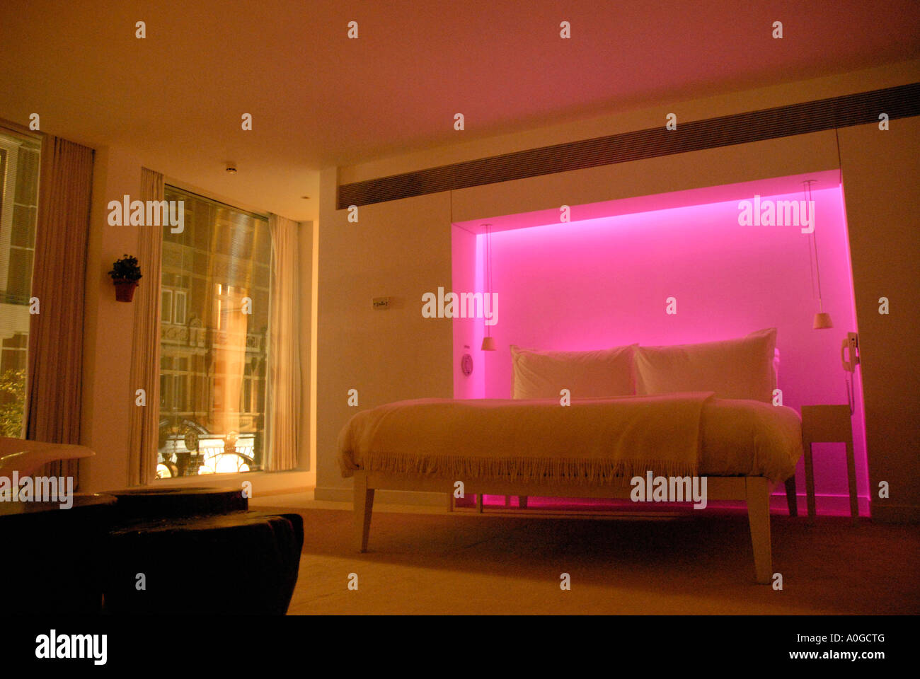 Bedroom With Colour Mood Lighting In St Martins Hotel St Martins Lane London