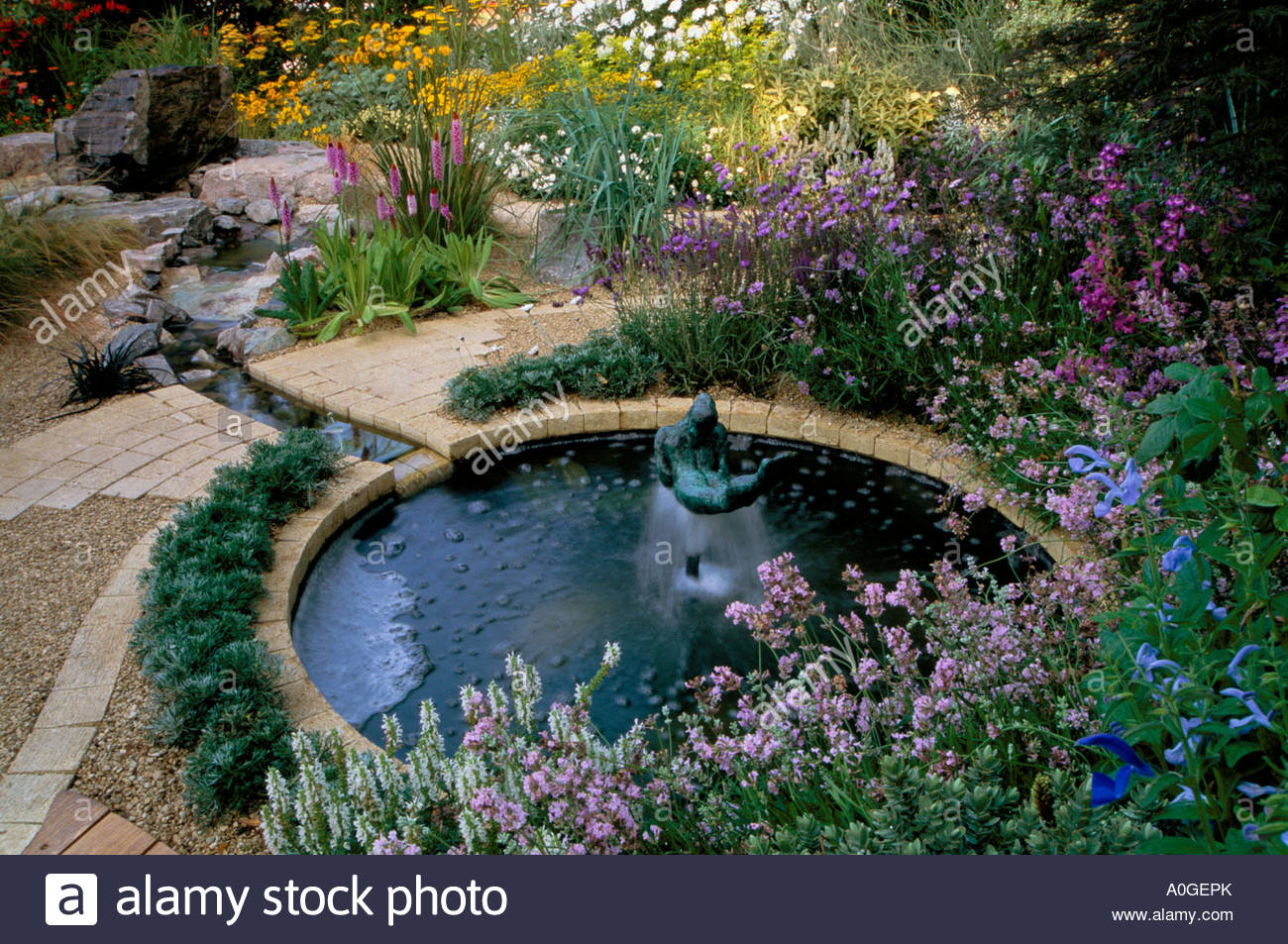 Feng Shui Garden Design Pamela Woods Circular Pond With Fountain Stock