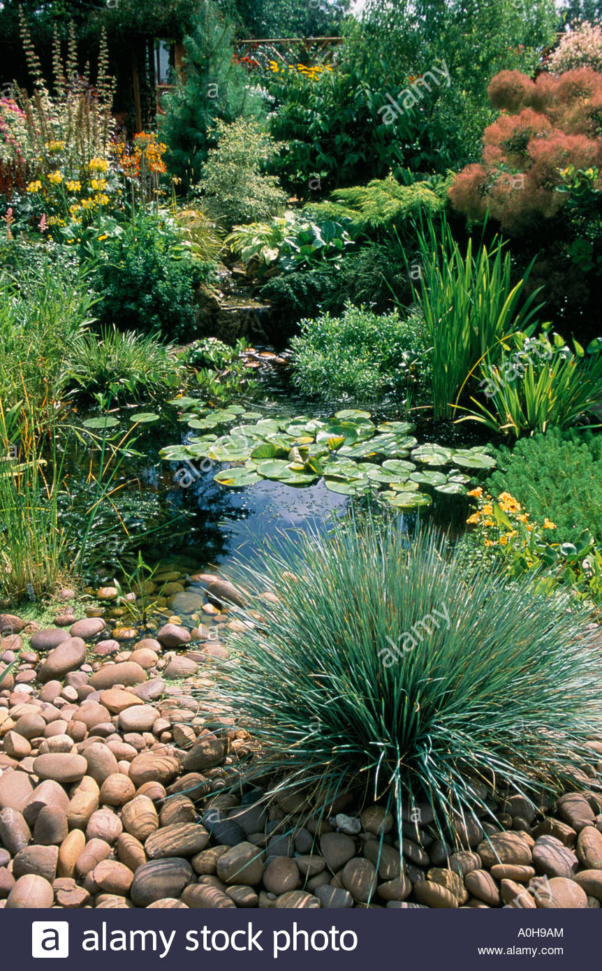 Holbeache Rd. Shropshire. Pond with decorative stones and pebbles ...