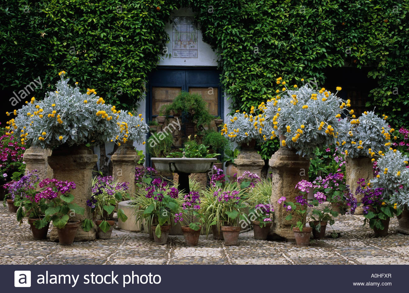 Cordoba Patio Garden Festival. Spain. The Viana Palace. The Grille  Courtyard With Pots, Containers And Water Fountain.