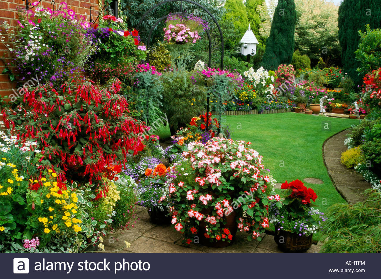 Colourful Garden With Mixed Borders Stock Photo Royalty