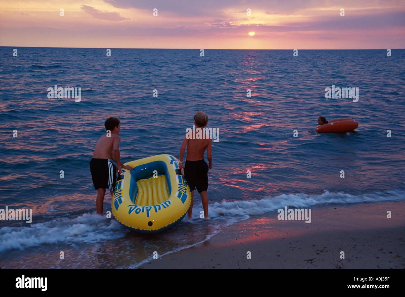 Cape Cod Kids Part - 25: Massachusetts Cape Cod Bay North Eastham Campground Beach Kids Raft Sunset  Waves