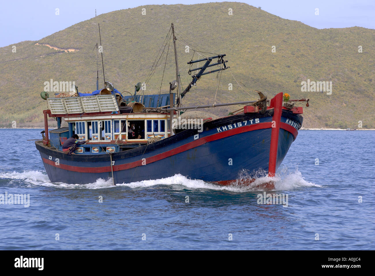 A vietnamese fishing boat off nha trang vietnam stock for Party boat fishing near me