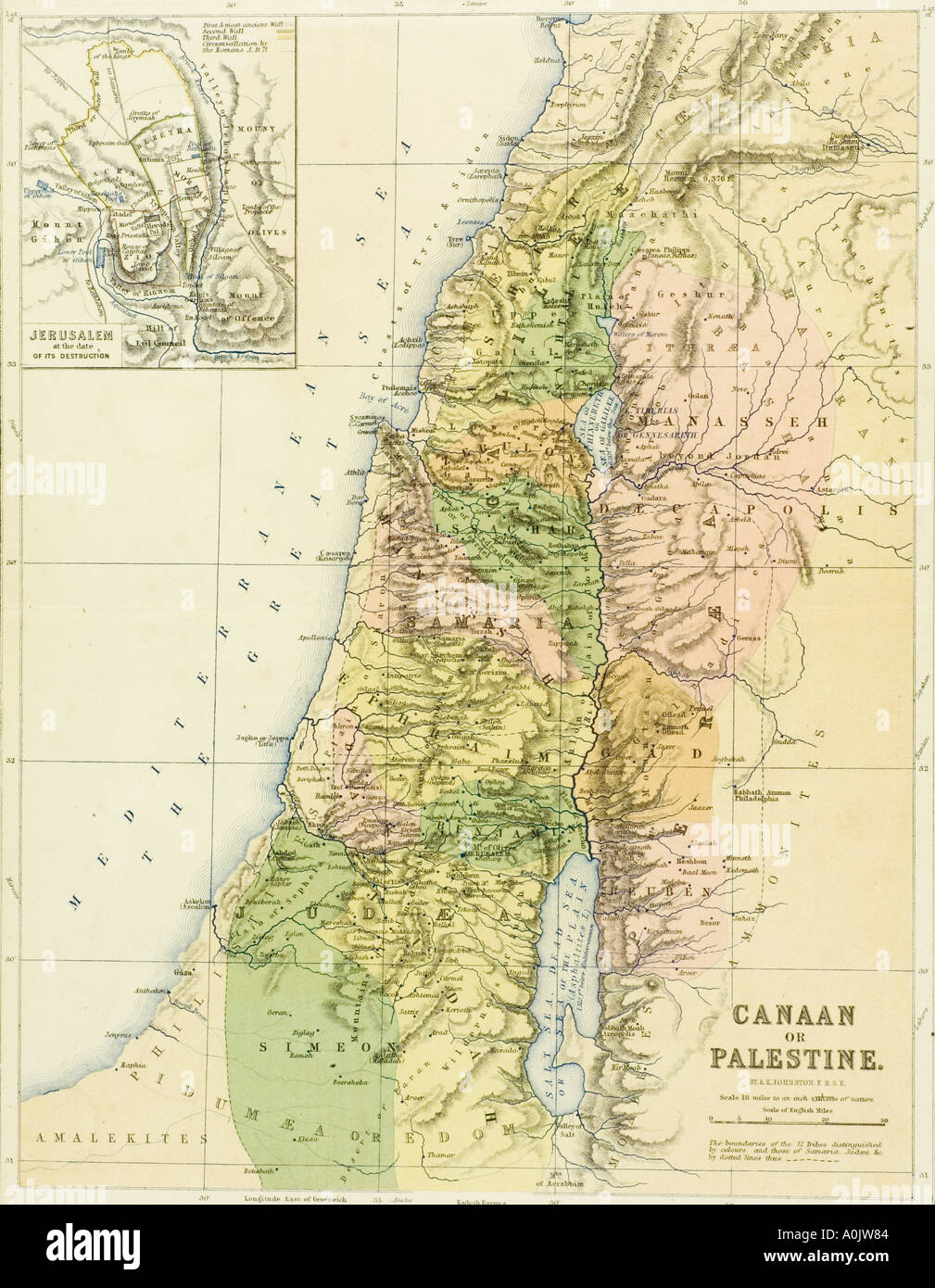 19th century map of canaan or palestine stock photo royalty free 19th century map of canaan or palestine sciox Choice Image