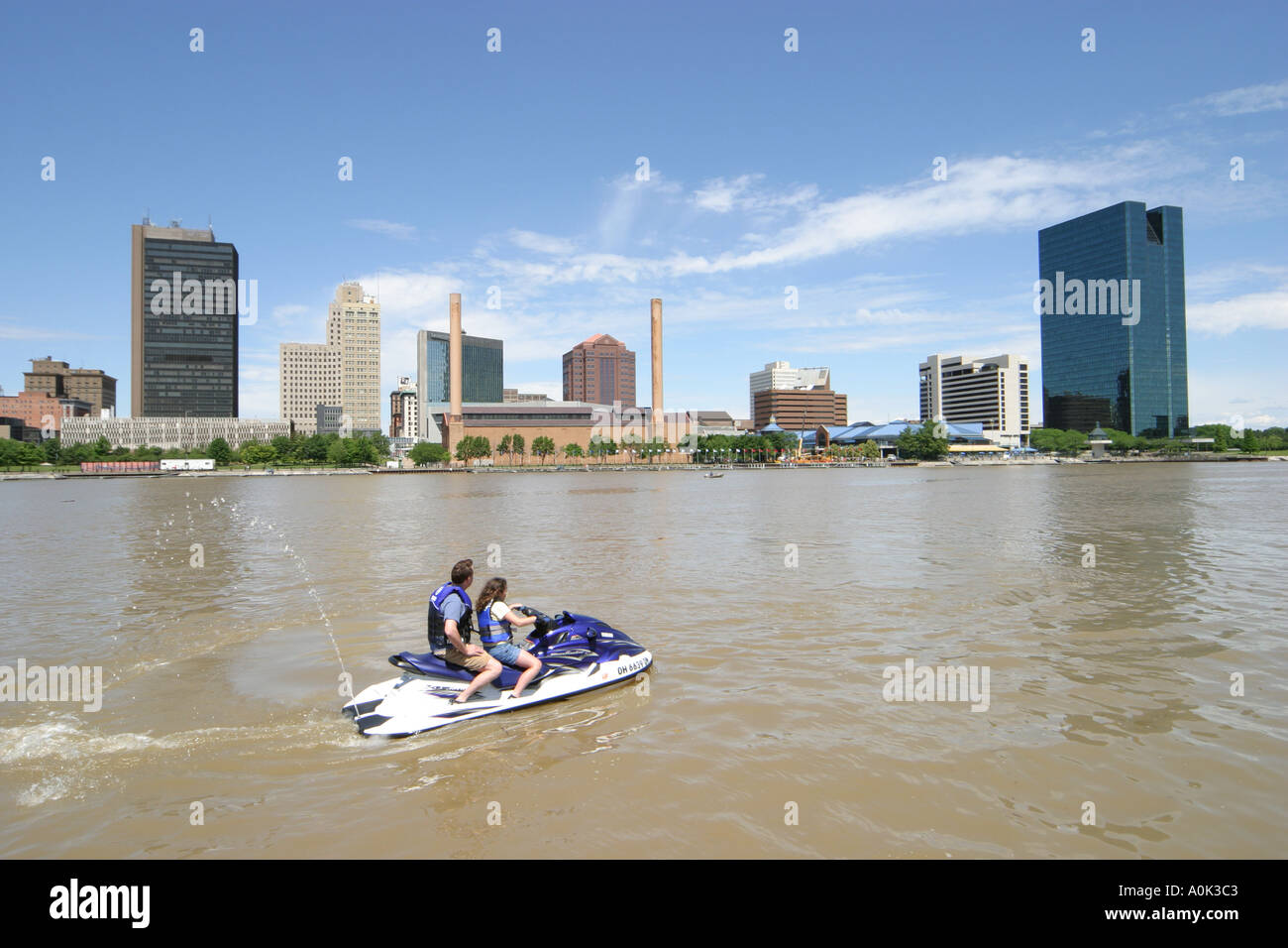 Ohio lucas county maumee - Toledo Ohio Maumee River Jet Ski Downtown Skyline View From The Docks Father Daughter Girl