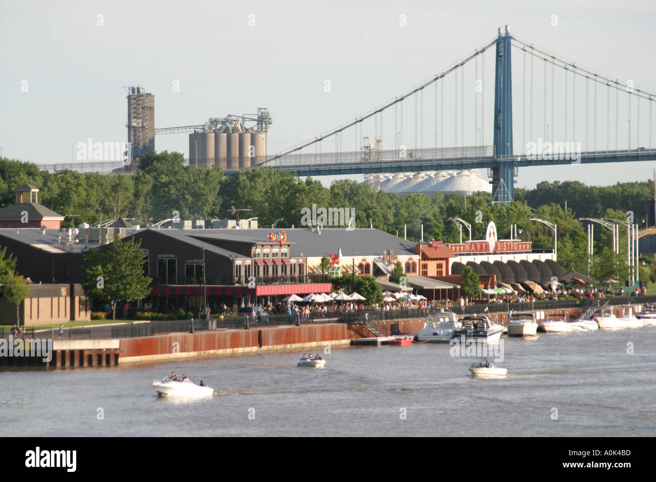 Ohio lucas county maumee - Stock Photo Toledo Ohio Maumee River The Docks High Level Bridge Boats