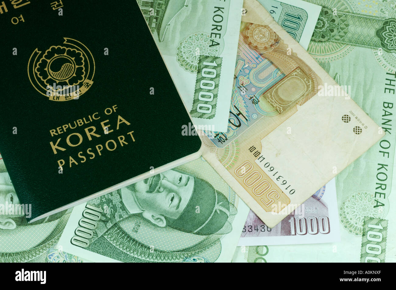Korean currency stock photos korean currency stock images alamy korean passport and korean currency stock image buycottarizona