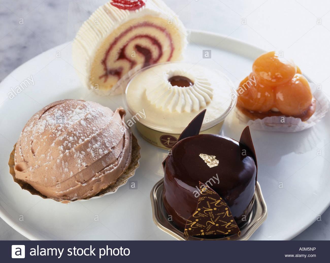 Cake combination dessert japan japanese cuisine stock for Asian cuisine dessert