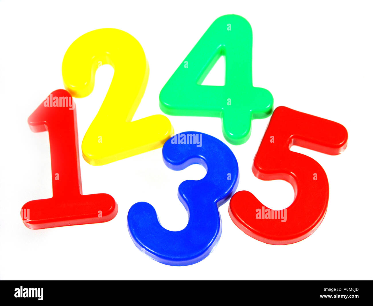 plastic fridge magnet numbers in primary colours one two three four five