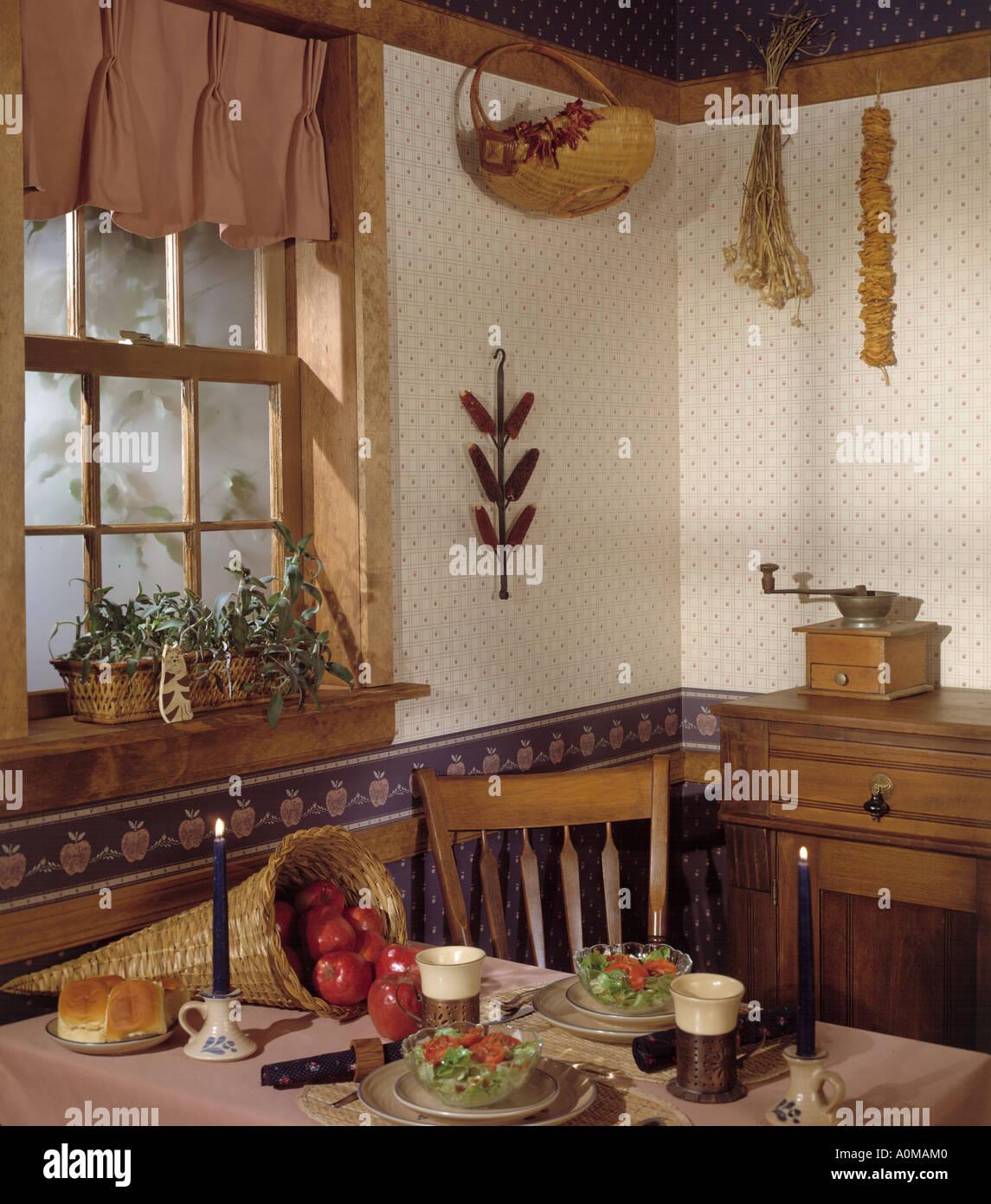 Kitchen room interior dining wallpaper stock photo for Kitchen dining room wallpaper