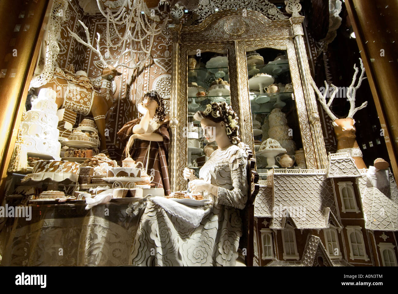 Candy cake and chocolate Christmas window display Bergdorf Goodman ...