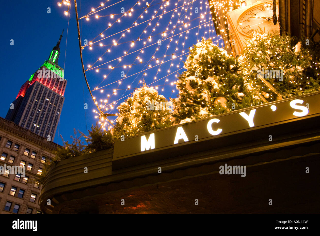Macy s department store sign during Christmas season with view to ...