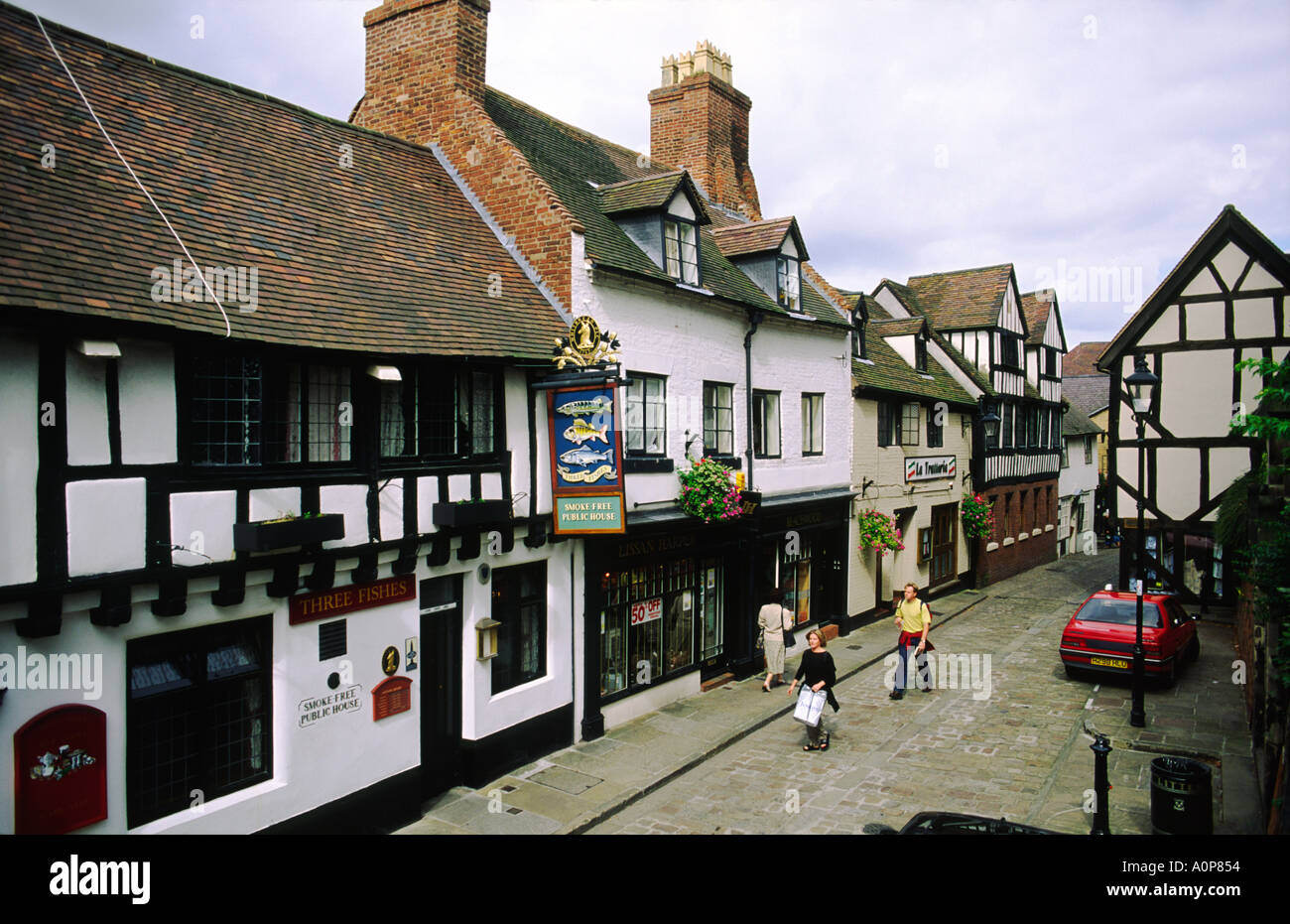 Tudor Period Houses In Fish Street In The Market Town Of
