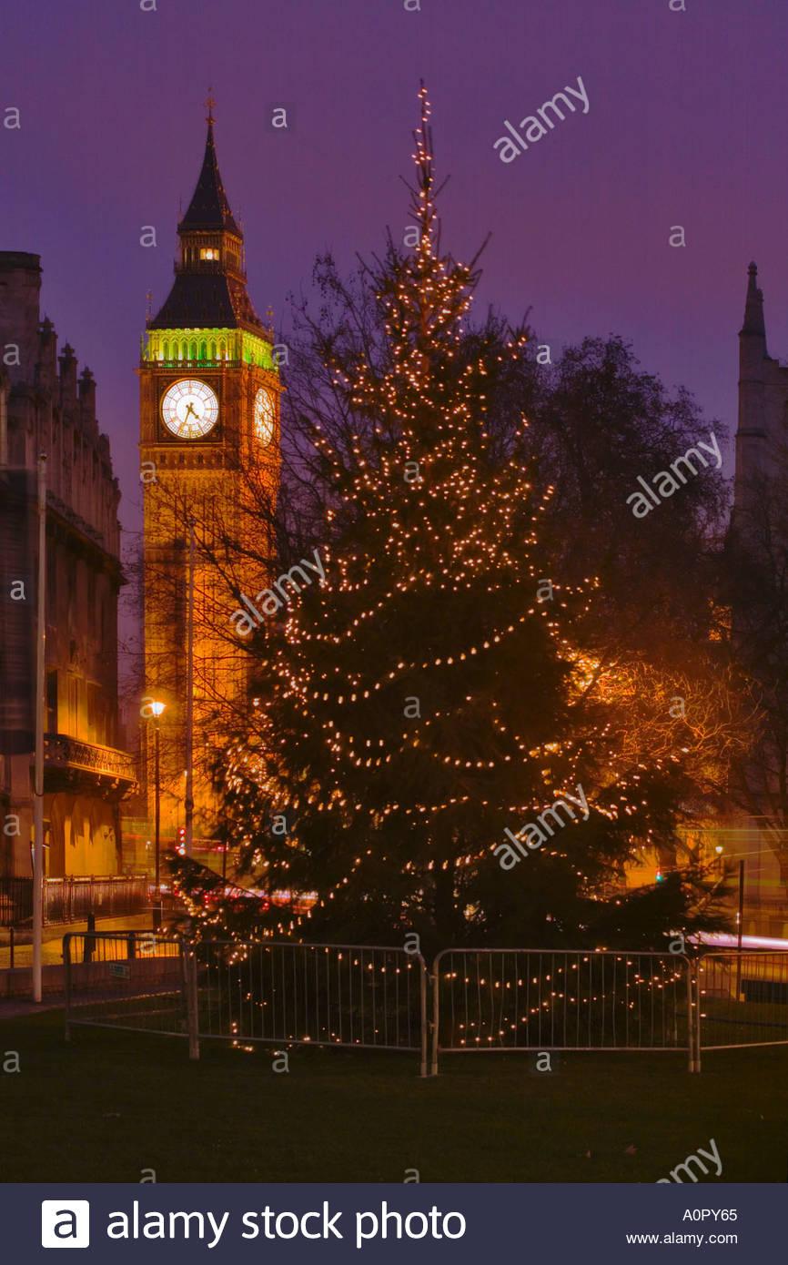 BIG BEN AND A CHRISTMAS TREE, LONDON, UK ,ENGLAND